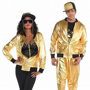 Gold Hip Hop Bomber Jacket Adult Mens Ladies 80s Rapper ...