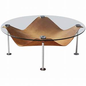 round coffee table in glass and cognac leather for sale at With leather and glass coffee table