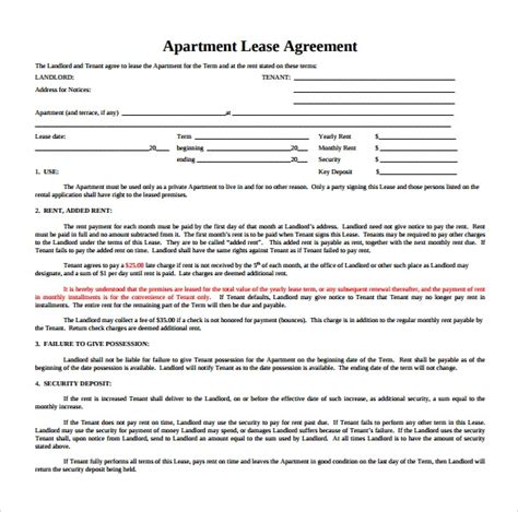 Apartment Lease Rental Agreement by Sle Apartment Rental Agreement Template 7 Free