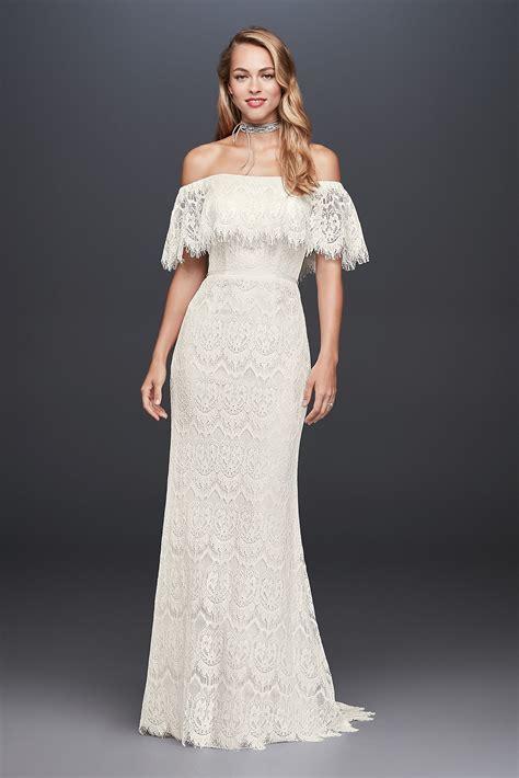 shoulder eyelash lace sheath style wedding dress