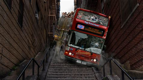 bus  takes fans  iconic joker stairs