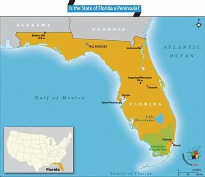 Florida Peninsula State Map Water Showing States