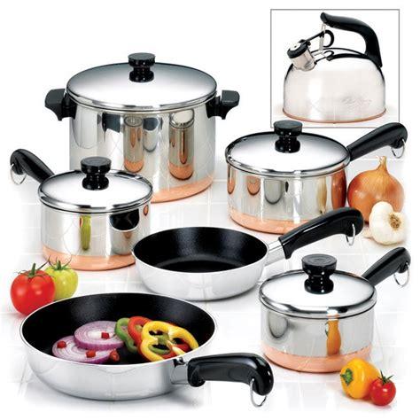 revere  piece copper bottom cookware set  shipping today overstockcom