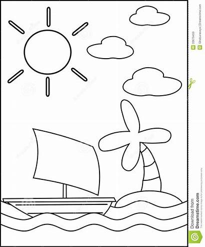 Coloring Sea Cartoon Pages Children Ship Island