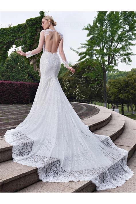 Long Sleeves Lace Open Back Mermaid Wedding Dresses Bridal ...