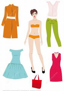 brunette woman paper doll with set of clothes to cut out With paper doll template woman
