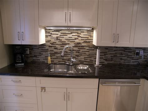 Glass Tile Backsplash Kitchen Contemporary With Beige Wall