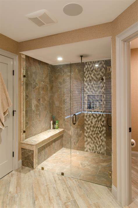 Glass Tile For Bathrooms Ideas by Shower Ideas Large Tile Shower With Custom Shower Seat