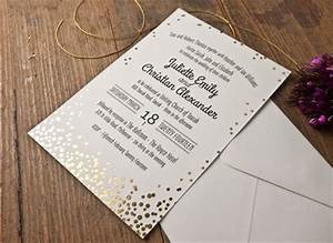Confetti gold foil wedding invitation papermarc for Silver foil wedding invitations australia