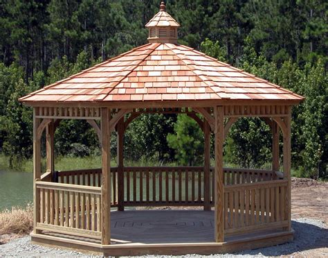 Gazebo : Treated Pine Single Roof Octagon Gazebos