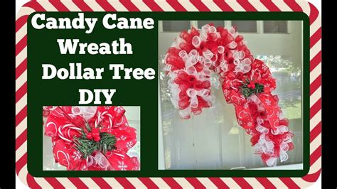 dollar tree diy candy cane wreath diy youtube