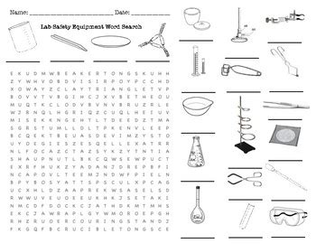 lab safety equipment word search by fission impossible tpt
