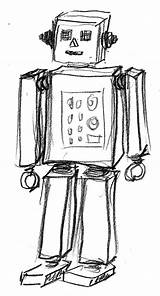 Robot Simple Sketch Sketches Needlebook Larger Credit Coloring sketch template