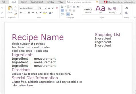 recipe  shopping list template  word