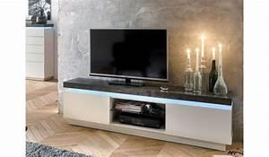 Meuble Tv Lumineux : meuble tv lumineux gris et blanc pour meuble tv ~ Teatrodelosmanantiales.com Idées de Décoration