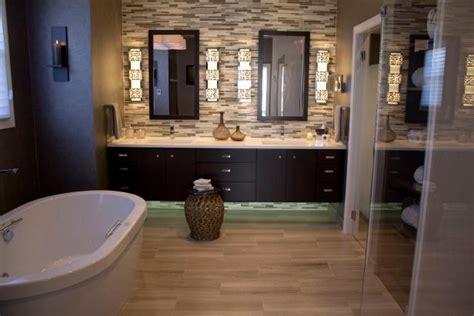 contemporary master suite bathroom features double vanity