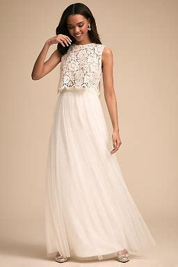 white lace top wedding dress separates two bridal gowns bhldn