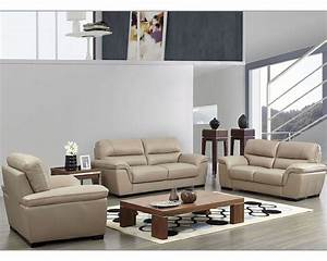 modern leather sofa set in beige color esf8052set With modern italian design sectional sofa beige