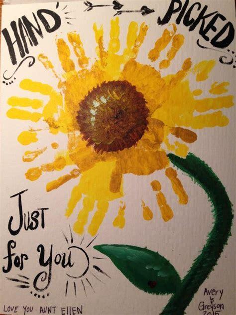 handprint sunflower daycare crafts spring crafts  kids