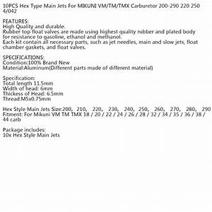 Carb Main Jets For Mikuni Vm Tm Tmx18  20  22  24  26  28 200