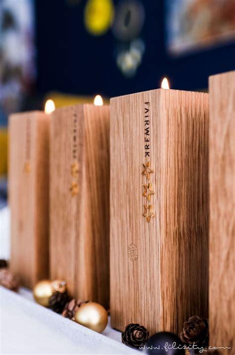 treppenstufen holz selber machen nat 252 rlicher diy adventskranz adventsteller mit holz