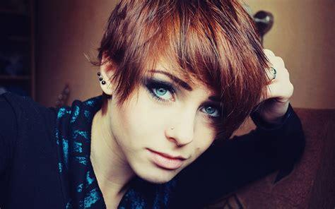 women lana branishti redhead blue eyes piercing short
