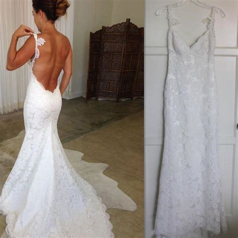 backless wedding dress lace 2017 backless wedding dresses lace spaghetti straps