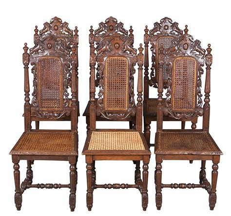 French Antique Set Of Six Carved Cane Back And Seat Dining