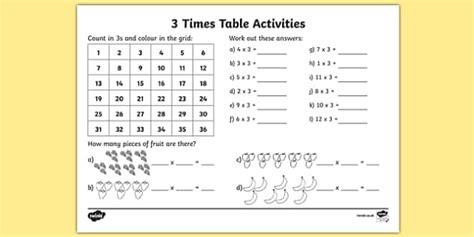 3 Times Table Worksheet  Activity Sheet  3 Times Tables