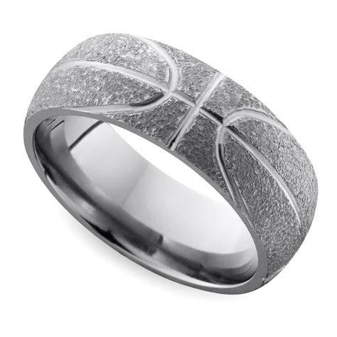 stipple finish basketball pattern men s wedding ring in titanium