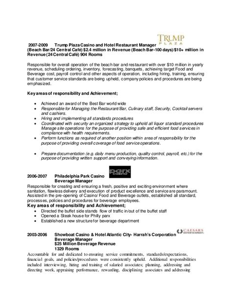 resume food and beverage manager