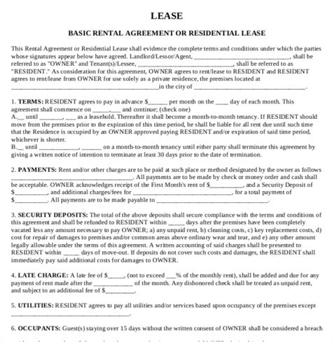 Printable Rental Agreement  13+ Free Word, Pdf Documents