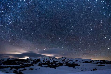 2932x2932 Sky Full Of Stars Snowy Mountains 5k Ipad Pro
