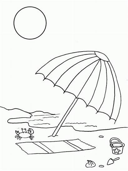 Coloring Umbrella Drawing Vacation Chair Drawings Line