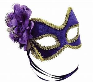 Purple & Gold Eye Mask Masquerade Ball Fancy Dress Eyemask ...