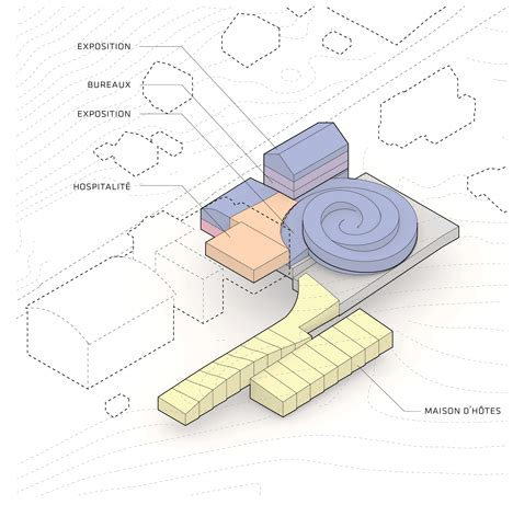 architecture colourful diagram bjarke ingels unveils spiralling museum for swiss watchmaker