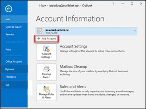 outlook    add  email account