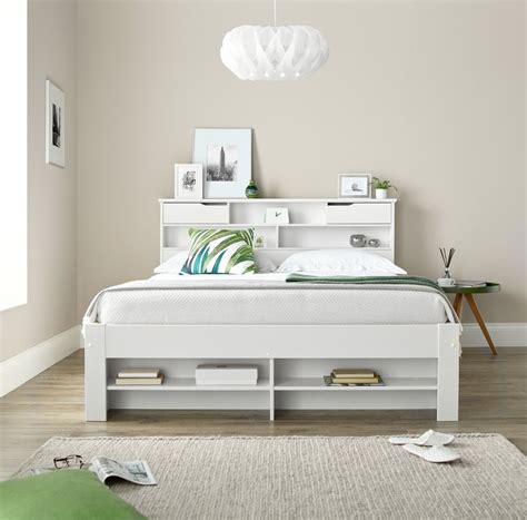 fabio white wood storage bed   mattress options