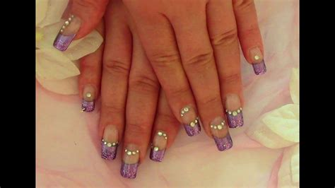 lila glam nails nageldesign selber machen fuer anfaenger