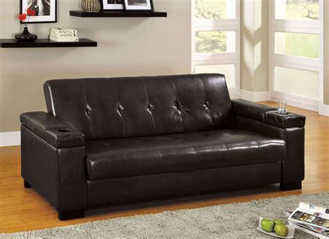 logan leatherette futon storage sofa  furniture