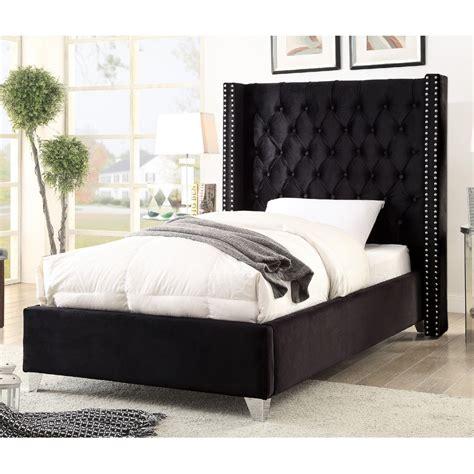 meridian aidenblack  aiden black tufted velvet twin bed