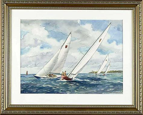 Sailboat Values by Soderberg Yngve Edward Watercolor Marine Painting