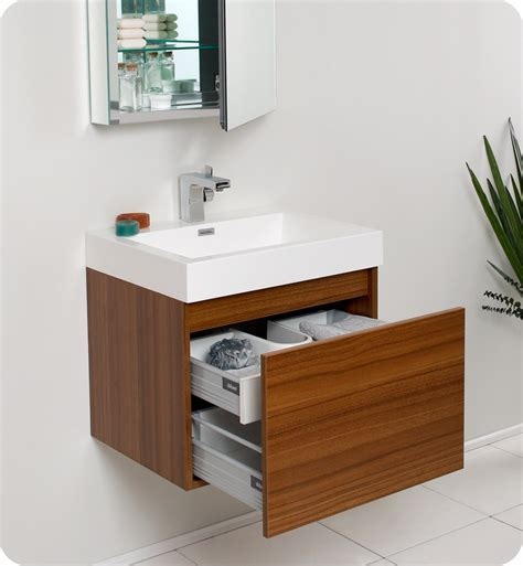 "Fresca Nano 24"" Teak Modern Bathroom Vanity with Faucet"