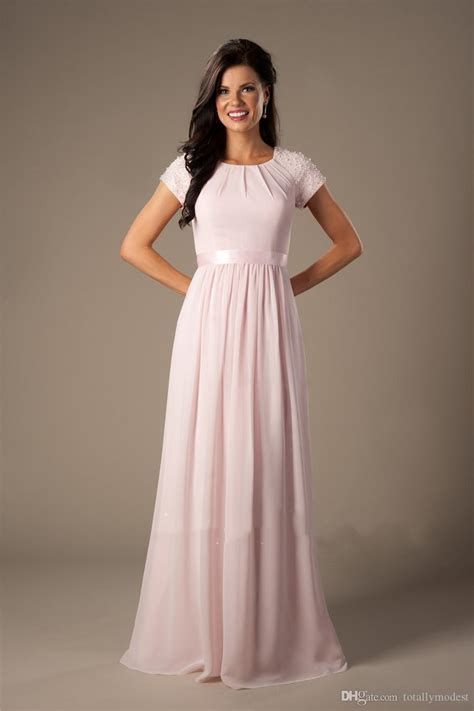 Beaded Pink Long Chiffon Modest Bridesmaid Dresses With ...