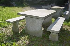 granittisch und bank aus tessiner naturstein gartentisch With französischer balkon mit garten steintisch
