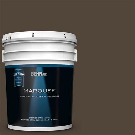 behr marquee 5 gal qe 24 manchester brown satin enamel exterior paint and primer in one 945305