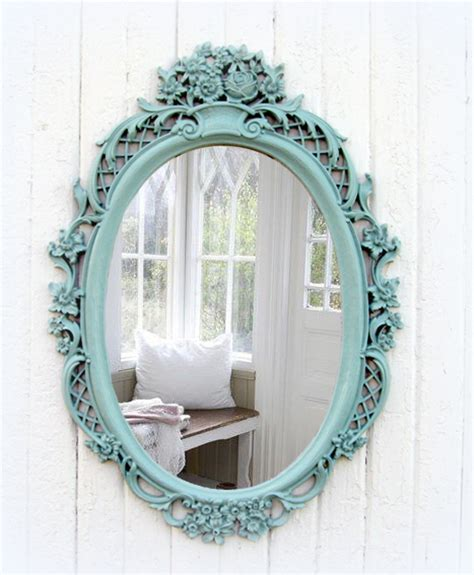shabby chic oval mirror vintage mint oval mirror shabby chic beach cottage