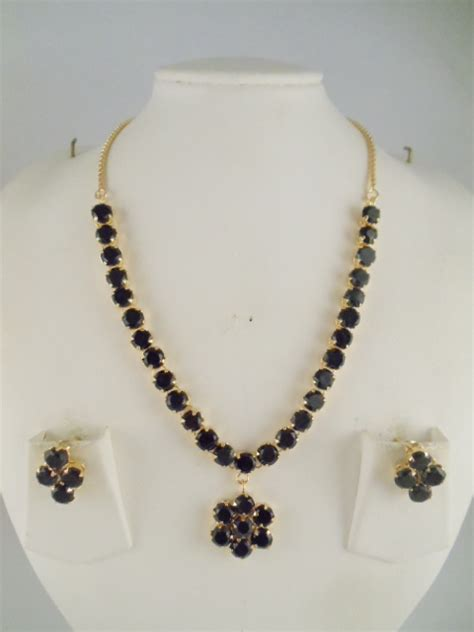 indian jewelry white  black stone necklace sets