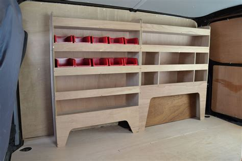 vw transporter   plywood van racking shelving