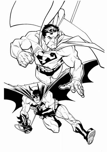 Superman Coloring Pages Batman Sheet Fighting Forkids